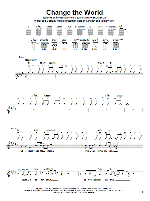 Eric Clapton Change The World sheet music preview music notes and score for Lyrics & Piano Chords including 3 page(s)