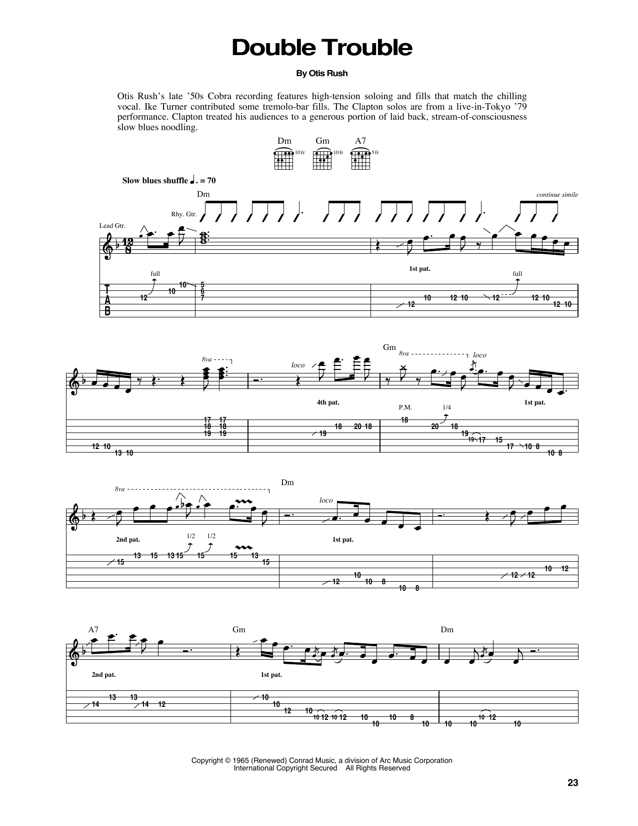 Eric Clapton Double Trouble sheet music notes and chords