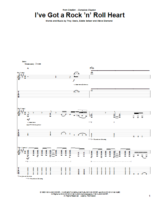 Eric Clapton I've Got A Rock 'N' Roll Heart sheet music preview music notes and score for Guitar Tab including 10 page(s)
