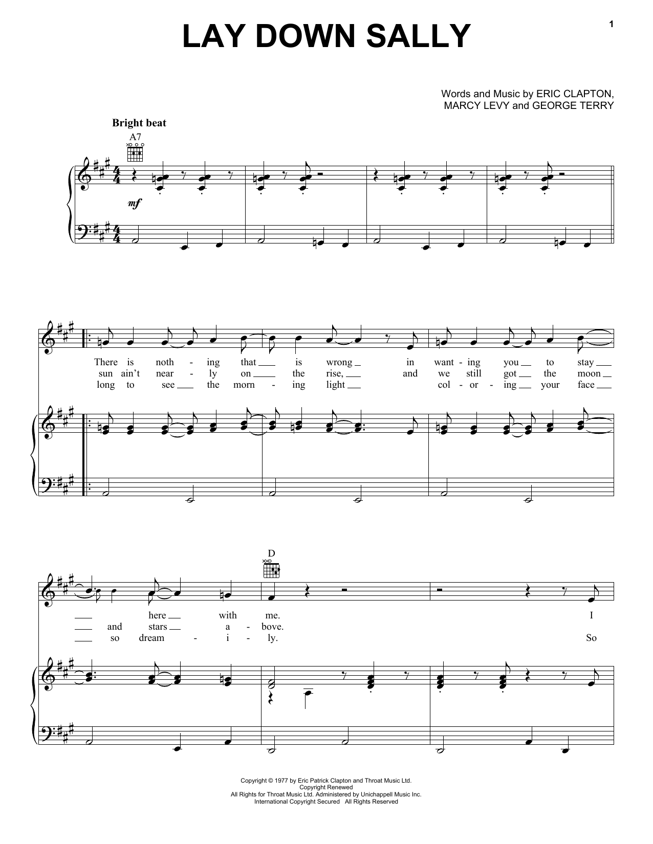 Eric Clapton Lay Down Sally sheet music notes and chords