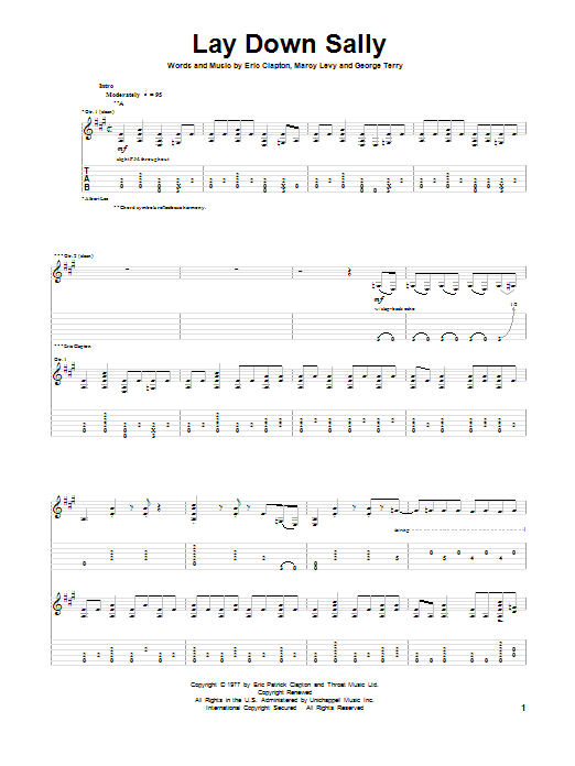 Eric Clapton Lay Down Sally sheet music preview music notes and score for Ukulele including 3 page(s)