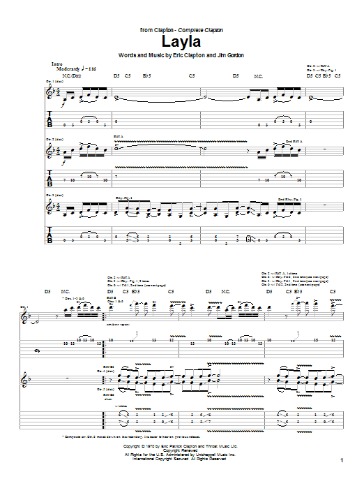 Eric Clapton Layla sheet music preview music notes and score for Lyrics & Piano Chords including 4 page(s)