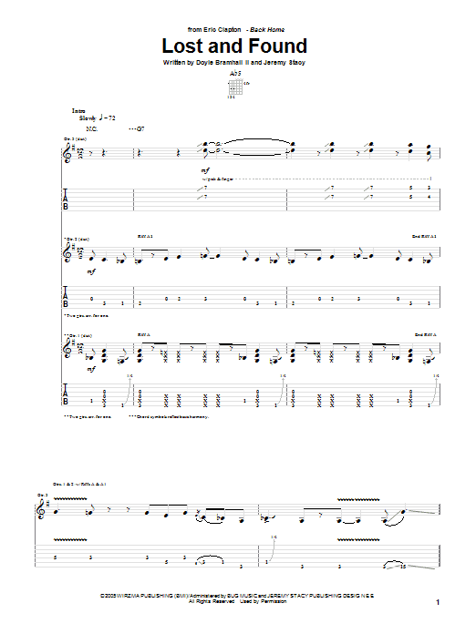 Eric Clapton Lost And Found sheet music preview music notes and score for Guitar Tab including 14 page(s)