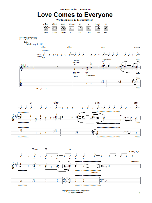 Eric Clapton Love Comes To Everyone sheet music preview music notes and score for Guitar Tab including 12 page(s)