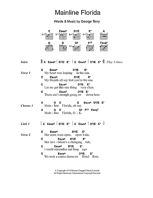 Eric Clapton Mainline Florida sheet music notes and chords