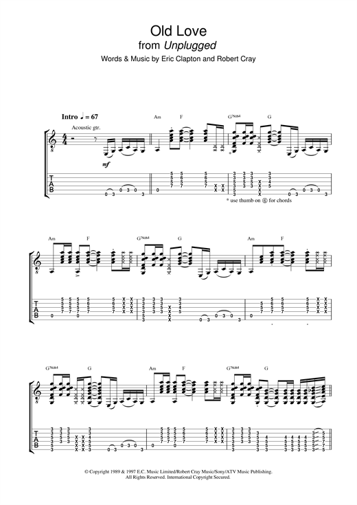 Eric Clapton Old Love (unplugged) sheet music notes and chords