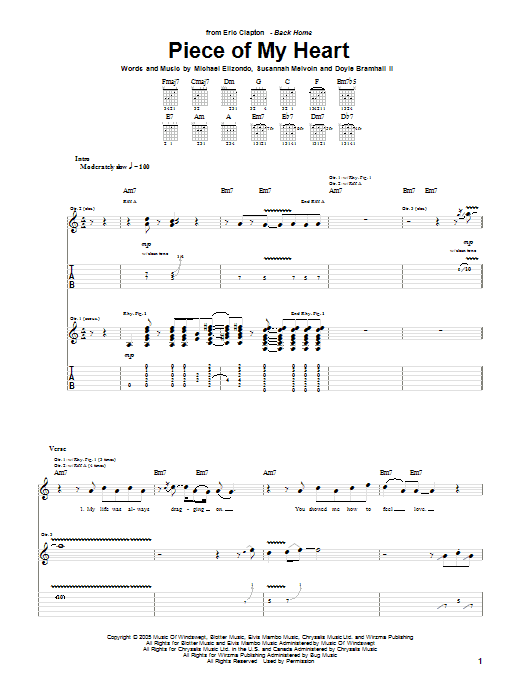Eric Clapton Piece Of My Heart sheet music preview music notes and score for Guitar Tab including 11 page(s)