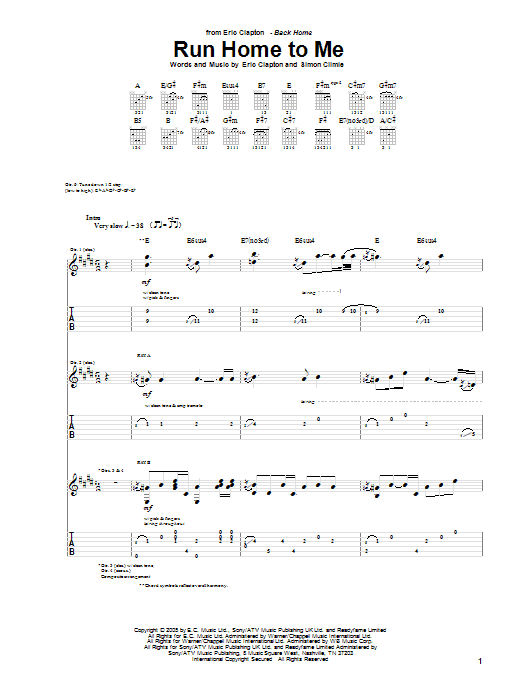 Eric Clapton Run Home To Me sheet music preview music notes and score for Guitar Tab including 18 page(s)