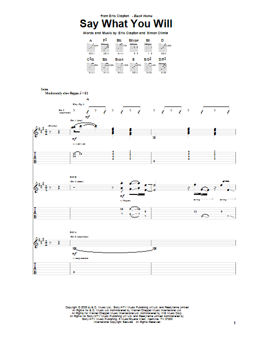 Eric Clapton Say What You Will sheet music preview music notes and score for Guitar Tab including 13 page(s)