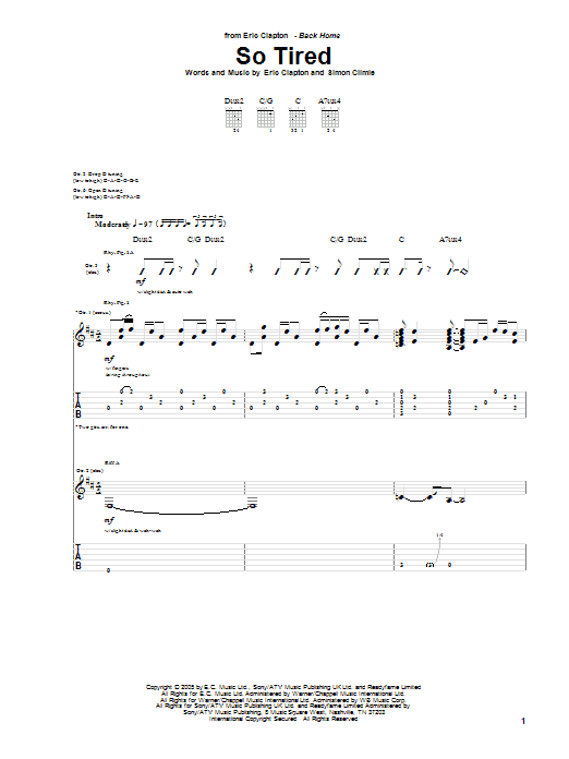 Eric Clapton So Tired sheet music preview music notes and score for Guitar Tab including 19 page(s)