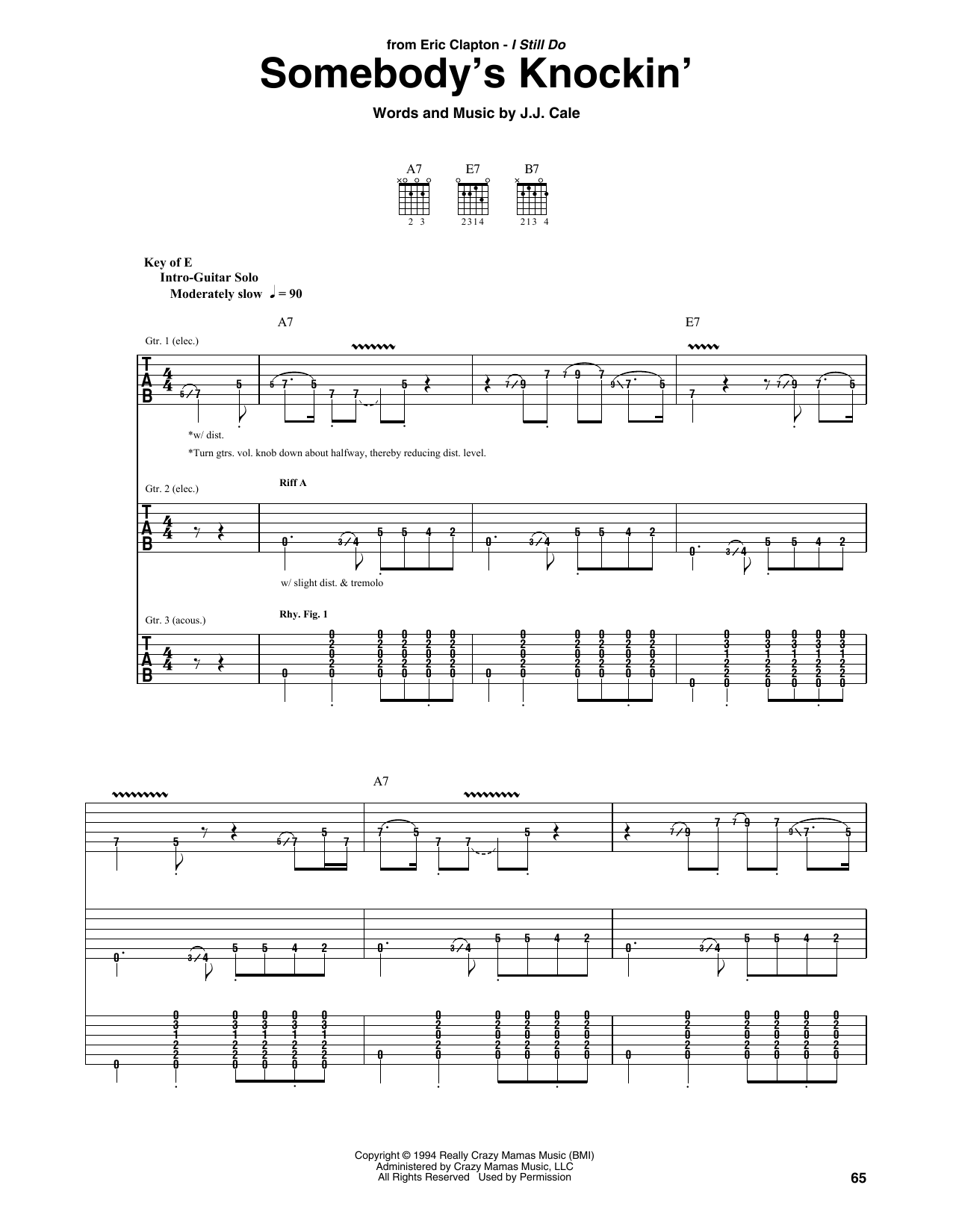 Download Eric Clapton 'Somebody's Knockin'' Digital Sheet Music Notes & Chords and start playing in minutes