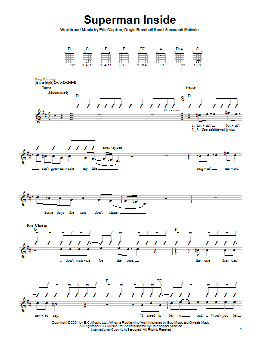 Eric Clapton Superman Inside sheet music preview music notes and score for Easy Guitar Tab including 3 page(s)