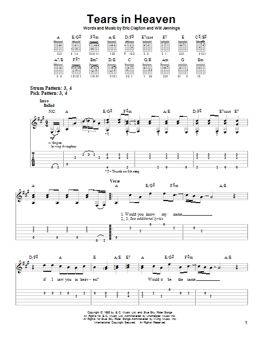 Eric Clapton Tears In Heaven sheet music preview music notes and score for Guitar Tab including 7 page(s)
