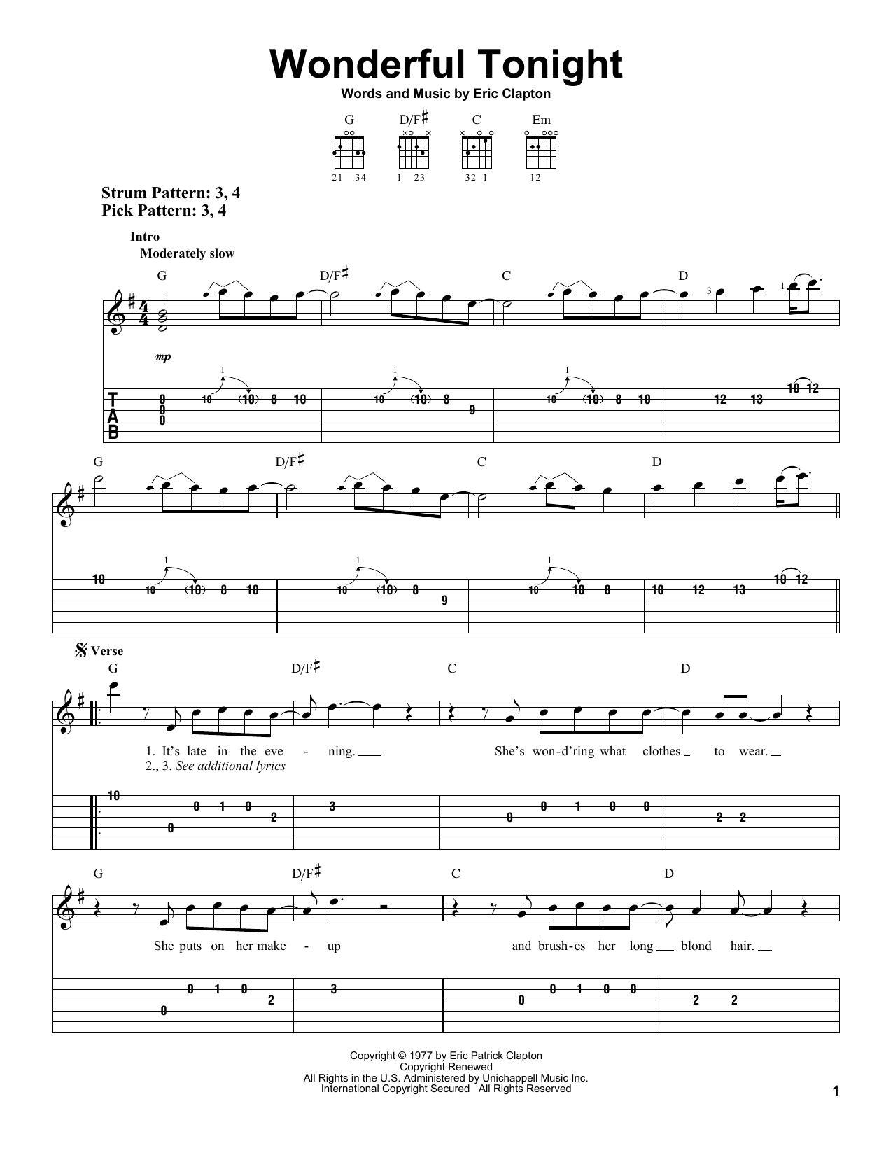 Eric Clapton Wonderful Tonight sheet music preview music notes and score for Piano, Vocal & Guitar (Right-Hand Melody) including 3 page(s)