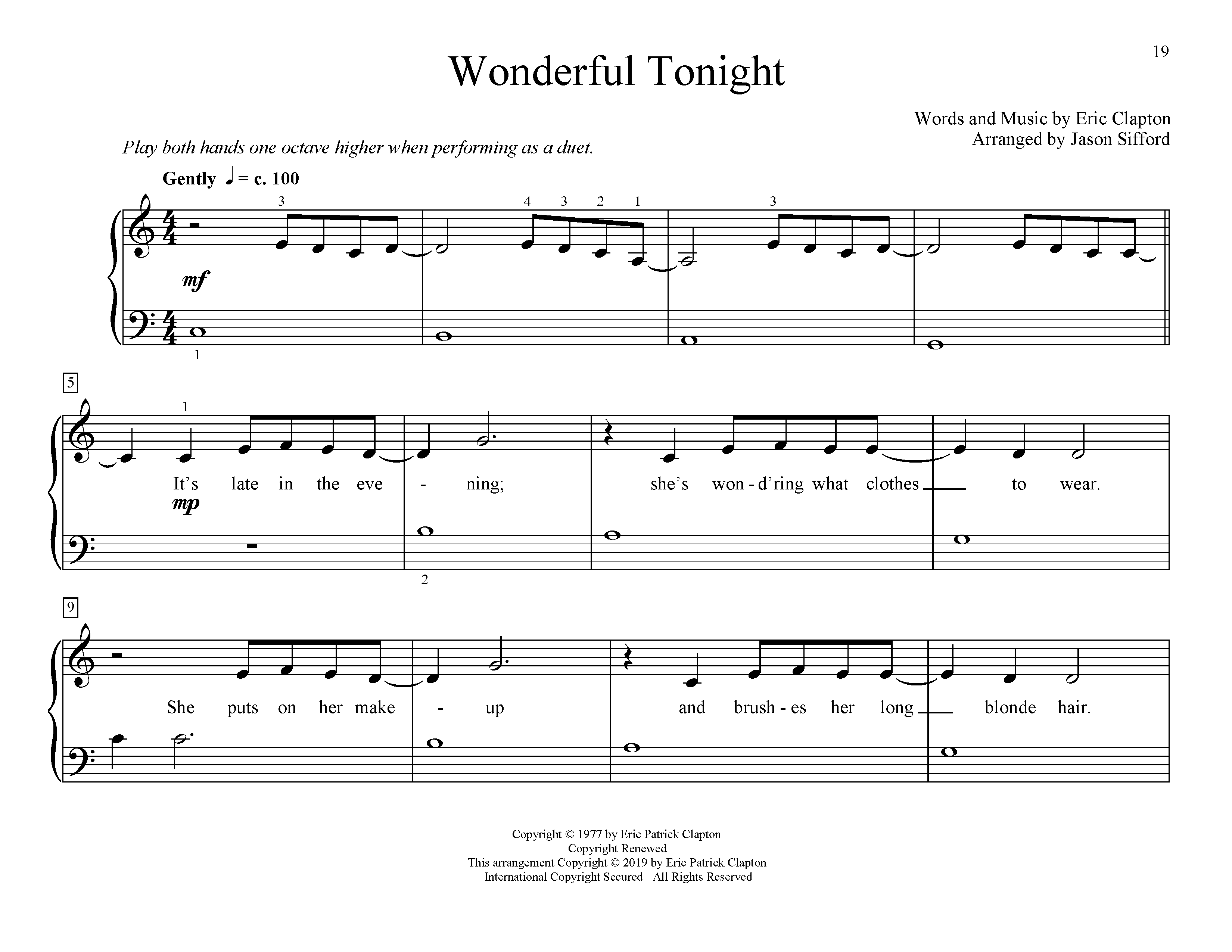 Eric Clapton Wonderful Tonight (arr. Jason Sifford) sheet music preview music notes and score for Educational Piano including 4 page(s)