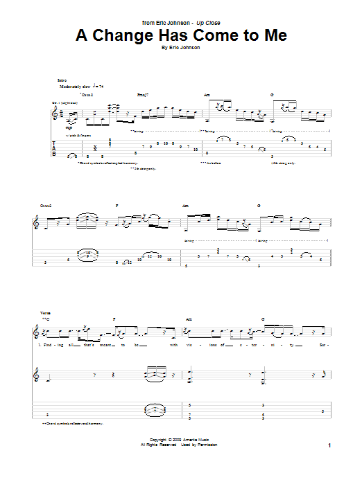 Eric Johnson A Change Has Come To Me sheet music preview music notes and score for Guitar Tab including 21 page(s)