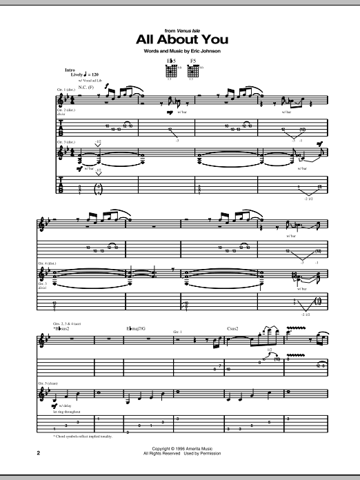 Eric Johnson All About You sheet music preview music notes and score for Guitar Tab including 21 page(s)
