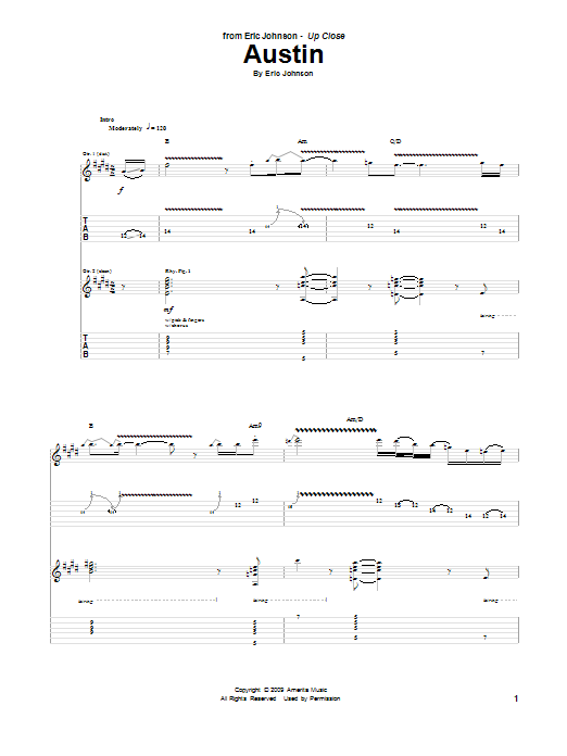 Eric Johnson Austin sheet music preview music notes and score for Guitar Tab including 20 page(s)