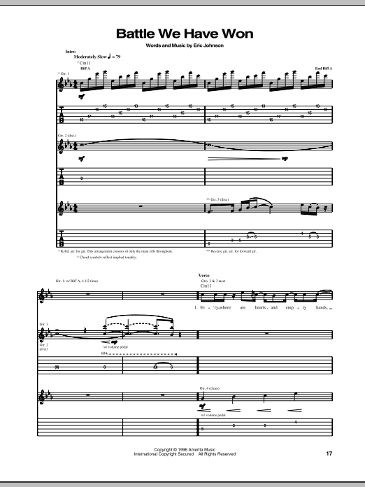 Eric Johnson Battle We Have Won sheet music preview music notes and score for Guitar Tab including 16 page(s)