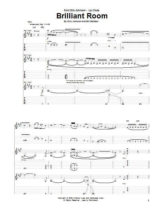 Eric Johnson Brilliant Room sheet music preview music notes and score for Guitar Tab including 19 page(s)