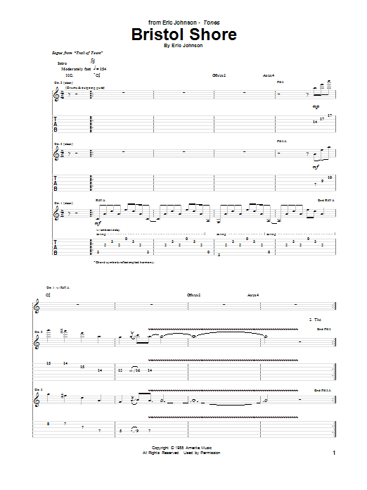Eric Johnson Bristol Shore sheet music preview music notes and score for Guitar Tab including 15 page(s)
