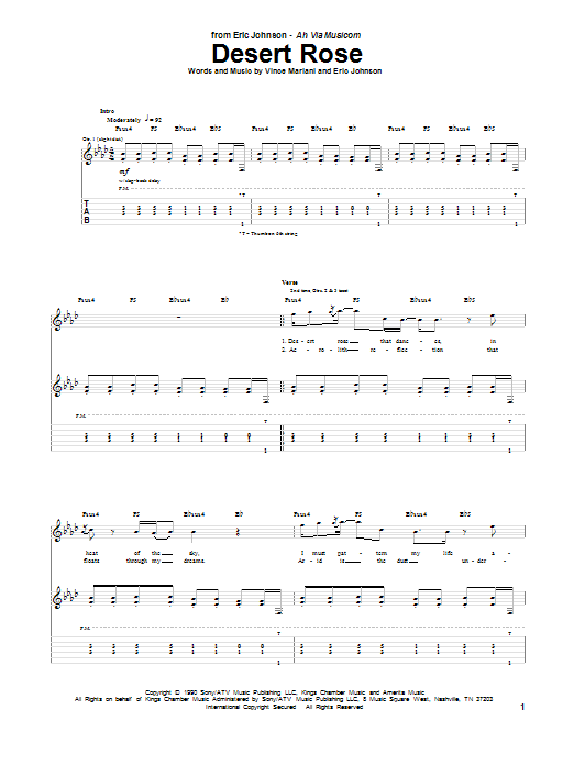 Eric Johnson Desert Rose sheet music preview music notes and score for Guitar Tab including 12 page(s)