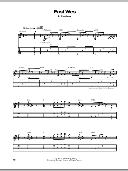 Eric Johnson East Wes sheet music preview music notes and score for Guitar Tab including 5 page(s)
