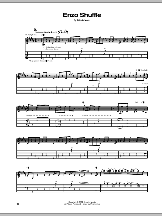 Eric Johnson Enzo Shuffle sheet music preview music notes and score for Guitar Tab including 4 page(s)