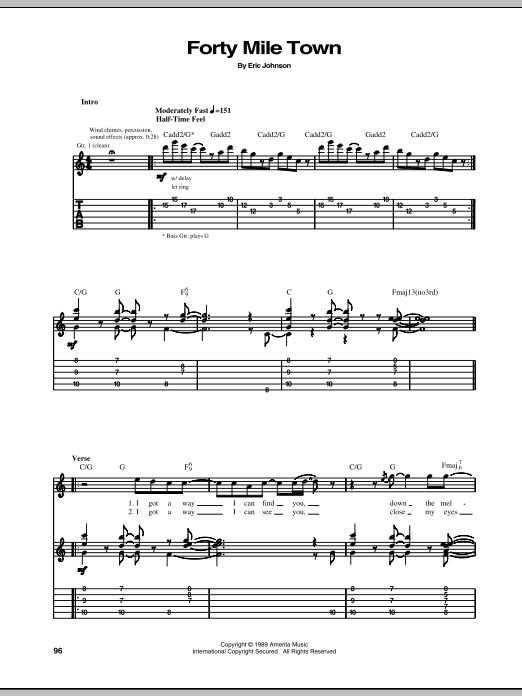 Eric Johnson Forty Mile Town sheet music preview music notes and score for Guitar Tab including 7 page(s)