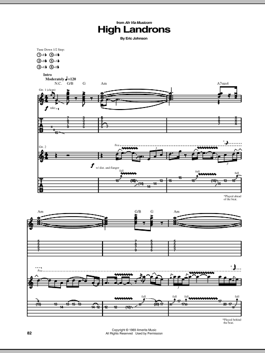 Eric Johnson High Landrons sheet music preview music notes and score for Guitar Tab including 24 page(s)