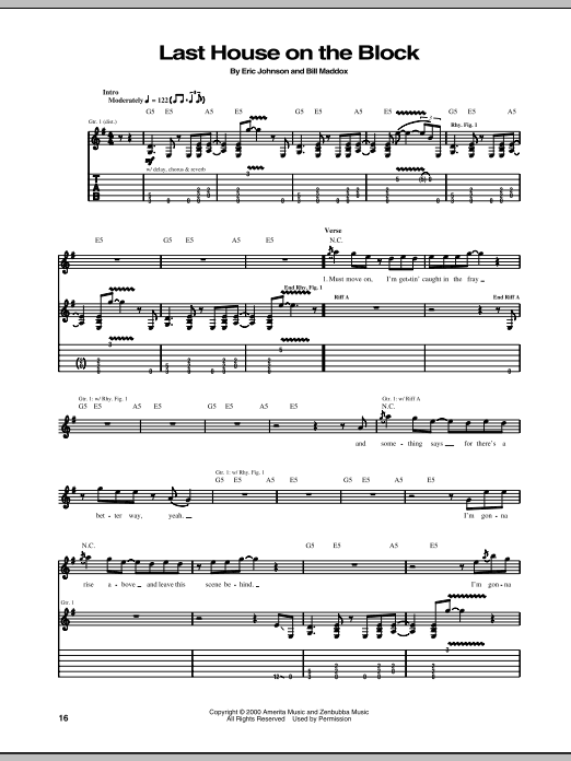 Eric Johnson Last House On The Block sheet music preview music notes and score for Guitar Tab including 17 page(s)