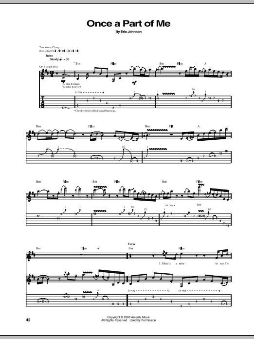 Eric Johnson Once A Part Of Me sheet music preview music notes and score for Guitar Tab including 10 page(s)