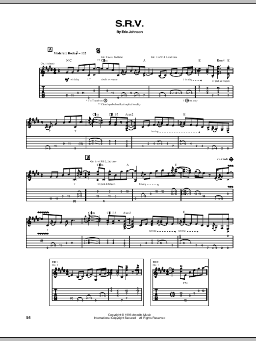 Eric Johnson S.R.V. sheet music preview music notes and score for Guitar Tab including 7 page(s)