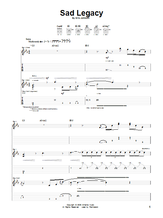 Eric Johnson Sad Legacy sheet music preview music notes and score for Guitar Tab including 18 page(s)