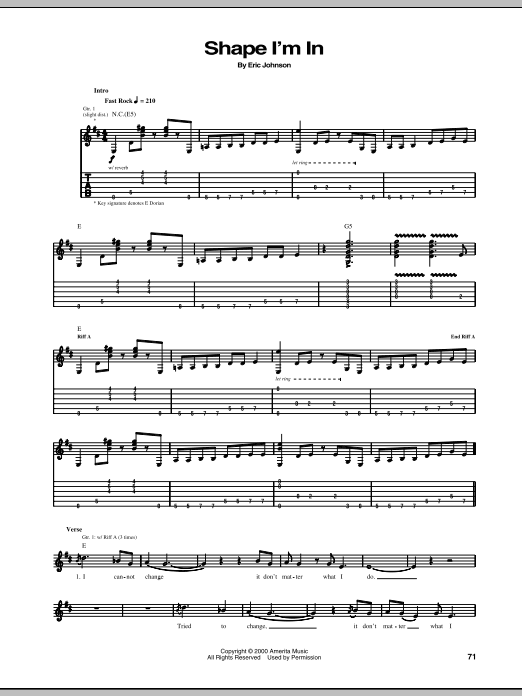 Eric Johnson Shape I'm In sheet music preview music notes and score for Guitar Tab including 12 page(s)