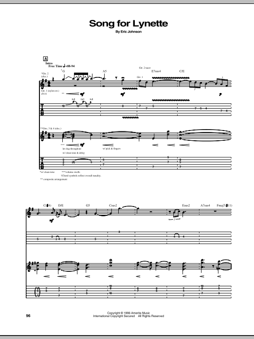Eric Johnson Song For Lynette sheet music preview music notes and score for Guitar Tab including 3 page(s)
