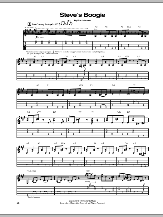 Eric Johnson Steve's Boogie sheet music preview music notes and score for Guitar Tab including 7 page(s)