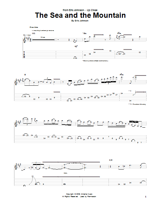 Eric Johnson The Sea And The Mountain sheet music preview music notes and score for Guitar Tab including 3 page(s)