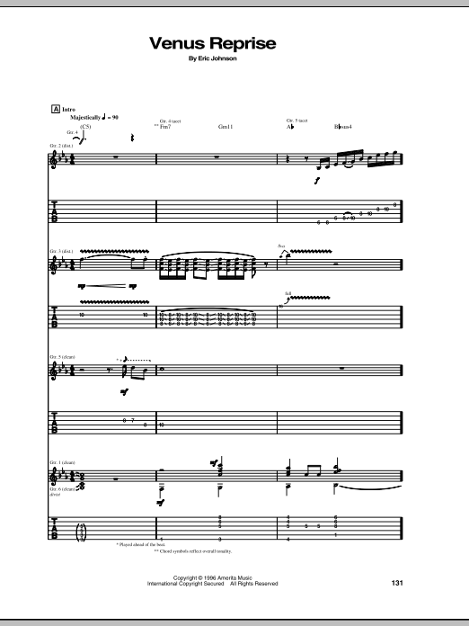 Eric Johnson Venus Reprise sheet music preview music notes and score for Guitar Tab including 5 page(s)