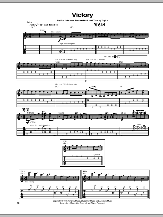 Eric Johnson Victory sheet music preview music notes and score for Guitar Tab including 8 page(s)