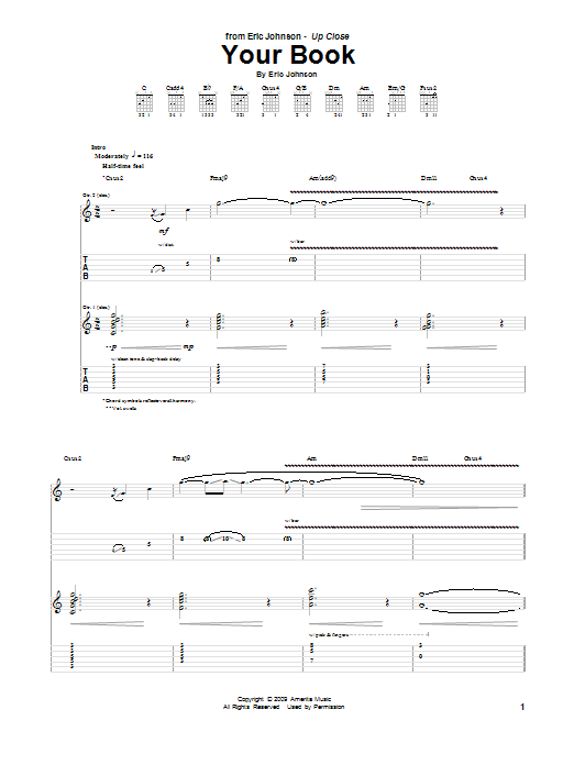 Eric Johnson Your Book sheet music preview music notes and score for Guitar Tab including 11 page(s)
