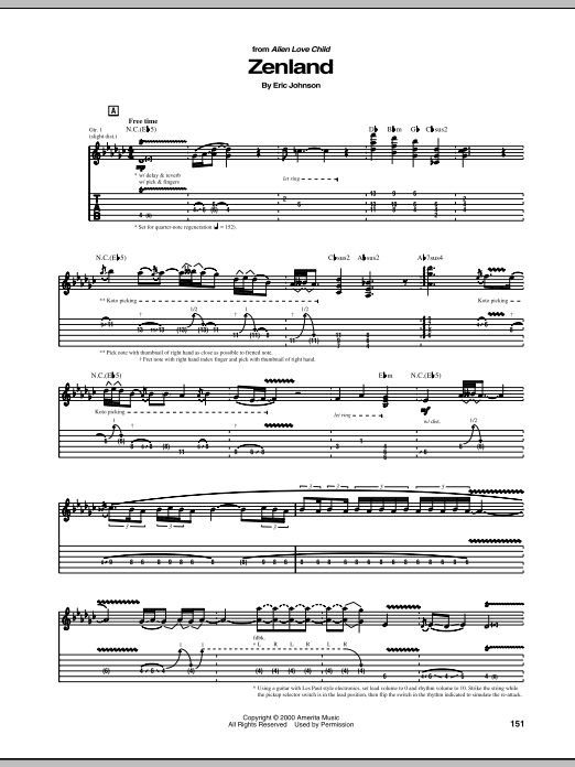Eric Johnson Zenland sheet music preview music notes and score for Guitar Tab including 10 page(s)