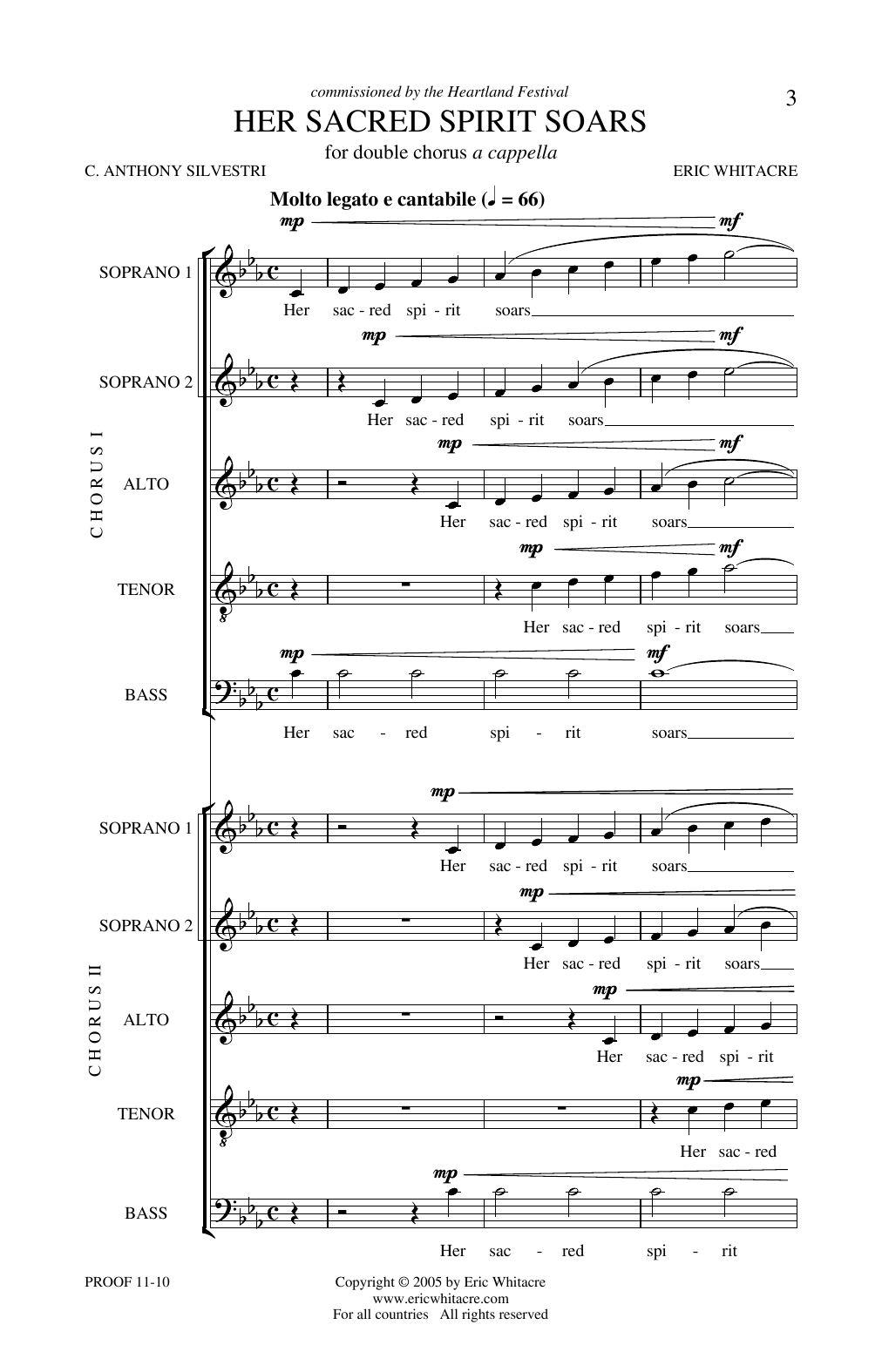 Download Eric Whitacre 'Her Sacred Spirit Soars' Digital Sheet Music Notes & Chords and start playing in minutes