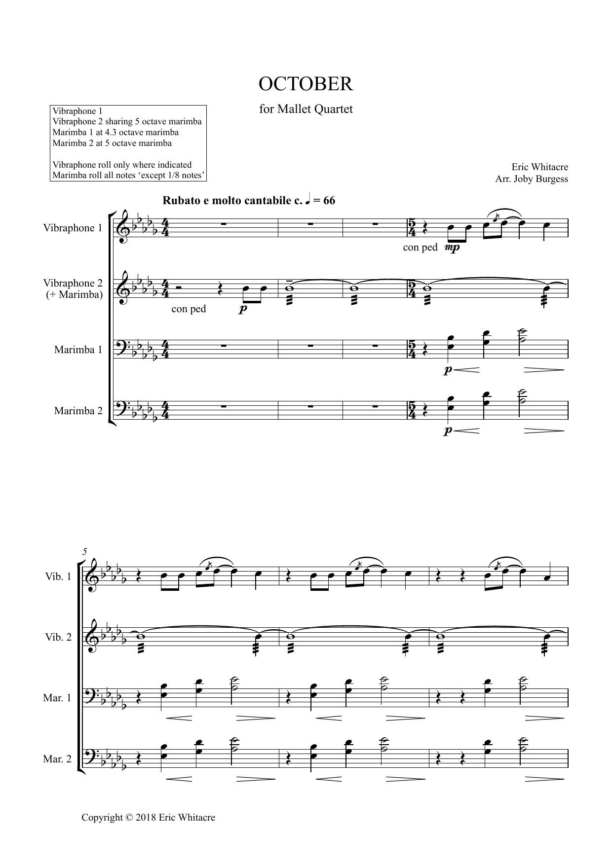 Eric Whitacre October (Alleluia) for Mallet Quartet (arr. Joby Burgess) - Full Score sheet music preview music notes and score for Percussion Ensemble including 11 page(s)