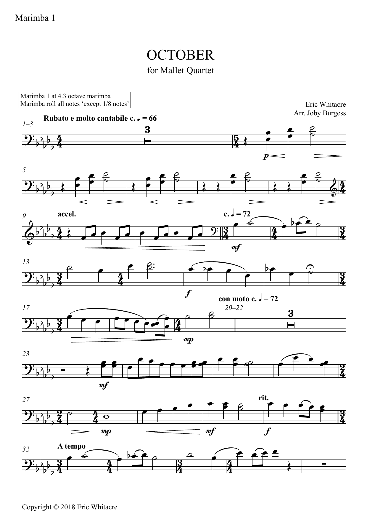 Eric Whitacre October (Alleluia) for Mallet Quartet (arr. Joby Burgess) - Marimba 1 sheet music preview music notes and score for Percussion Ensemble including 3 page(s)