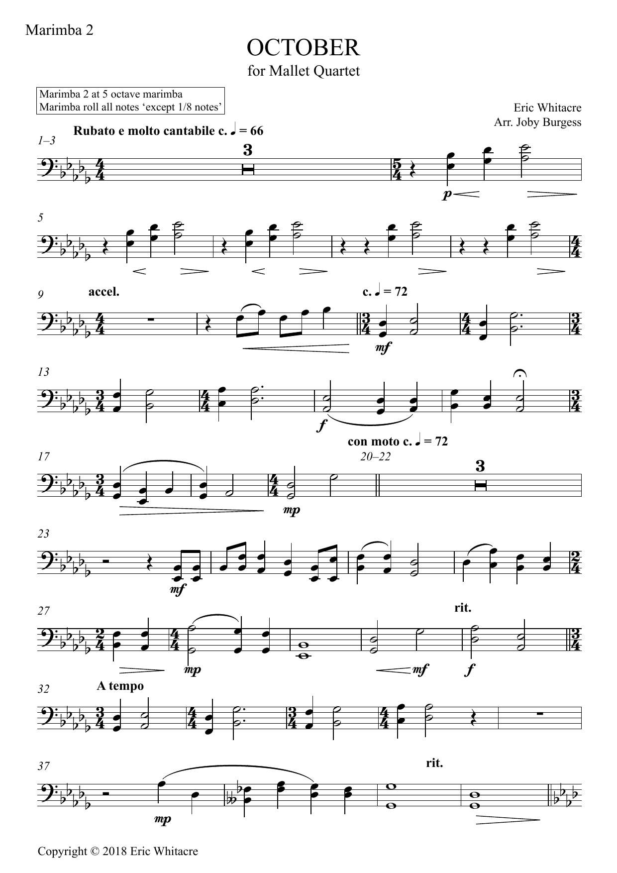 Eric Whitacre October (Alleluia) for Mallet Quartet (arr. Joby Burgess) - Marimba 2 sheet music preview music notes and score for Percussion Ensemble including 3 page(s)