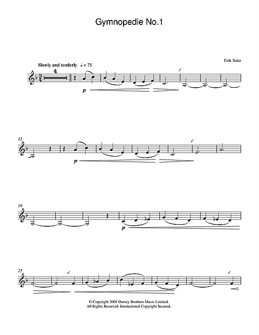 Erik Satie Gymnopedie No. 1 sheet music preview music notes and score for Piano including 3 page(s)