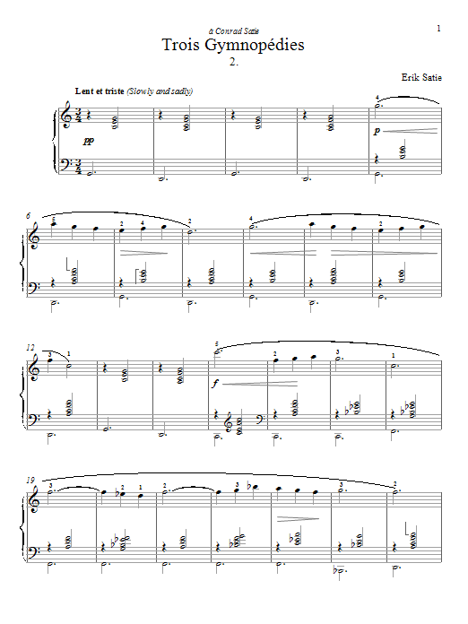 Erik Satie Gymnopedie No. 2 sheet music preview music notes and score for Piano including 2 page(s)