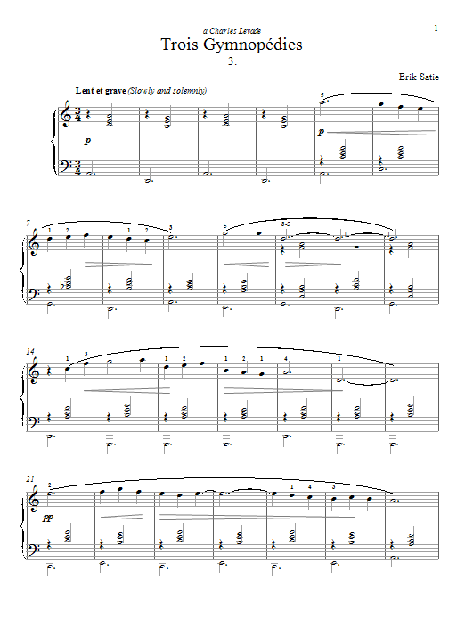 Erik Satie Gymnopedie No. 3 sheet music preview music notes and score for Piano including 2 page(s)