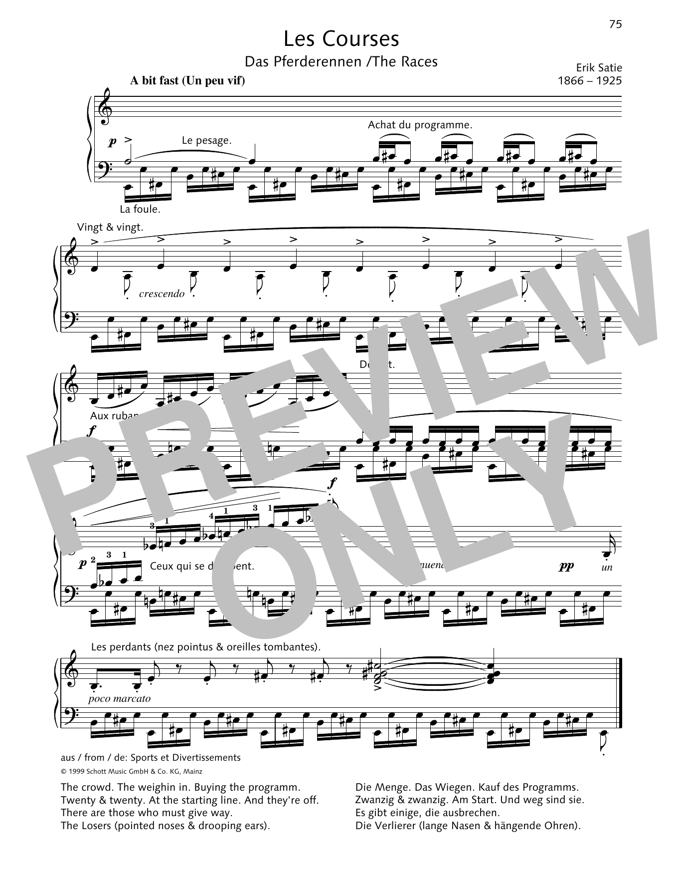 Erik Satie The Races sheet music preview music notes and score for Piano Solo including 1 page(s)